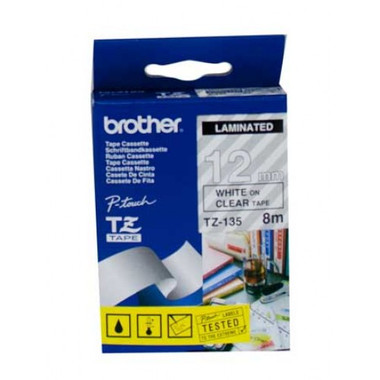 Brother TZ-135 12mm White on Clear Tape