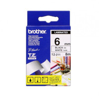 Brother TZ211 6mm Black on White Tape