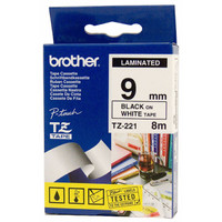 Brother TZ-221 9mm Black on White Tape