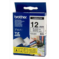 Brother TZ-231 12mm Black on White Tape