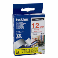 Brother TZ-232 12mm Red on White Tape