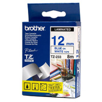 Brother TZ-233 12mm Blue on White Tape