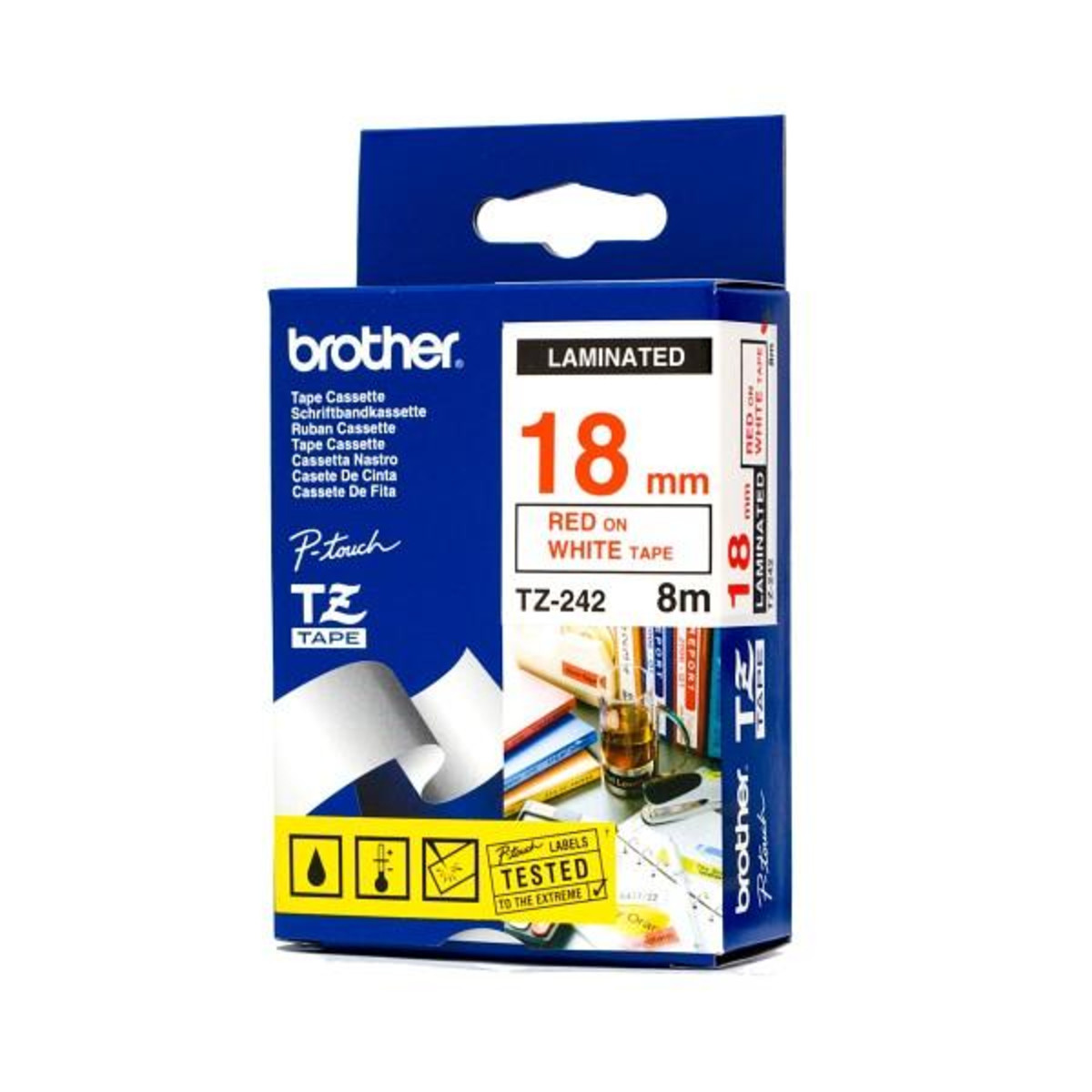 Brother TZ-242 18mm Red on White Tape