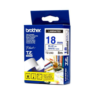 Brother TZ-243 18mm Blue on White Tape