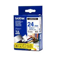Brother TZ-253 24mm Blue on White Tape