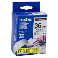 Brother TZ-261 36mm Black on White Tape