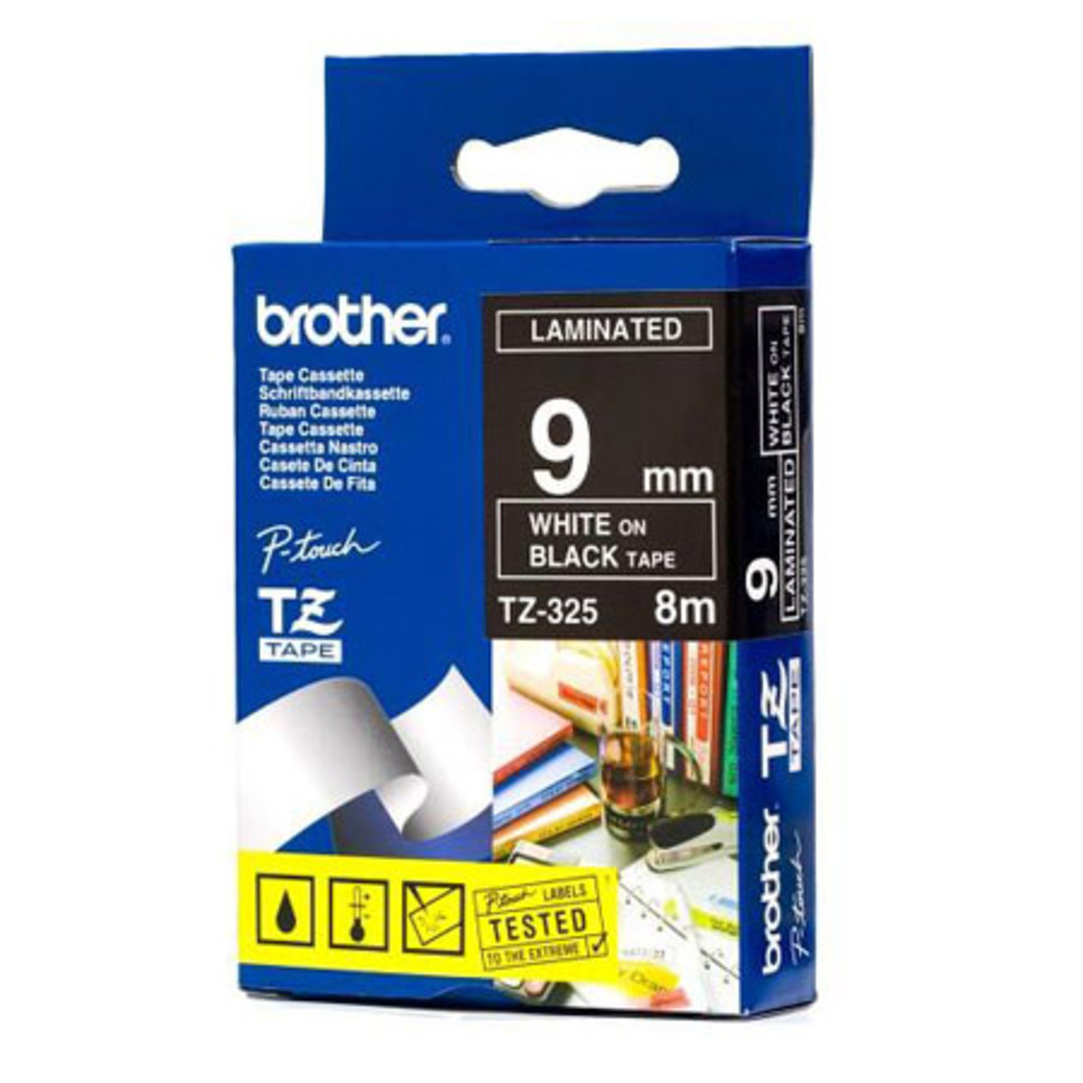 Brother TZ-325 9mm White on Black Tape