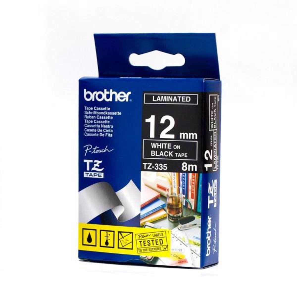 Brother TZ-335 12mm White on Black Tape