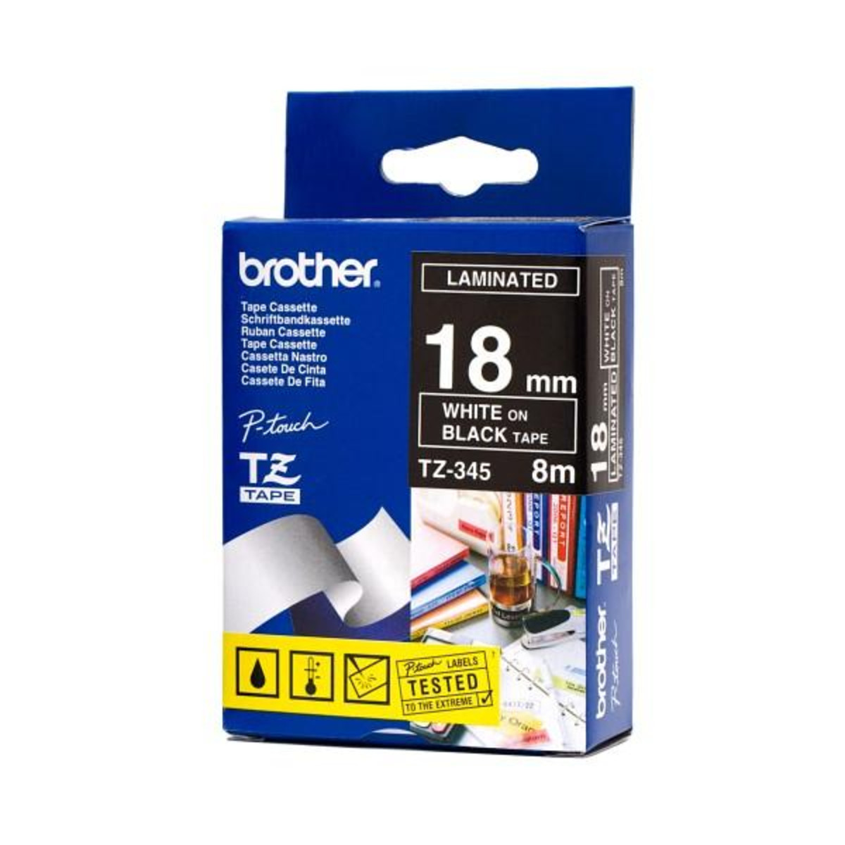 Brother TZ-345 18mm White on Black Tape