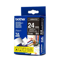 Brother TZ-355 24mm White on Black Tape