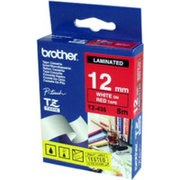 Brother TZ-435 12mm White on Red Tape