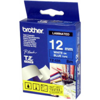 Brother TZ-535 12mm White on Blue Tape