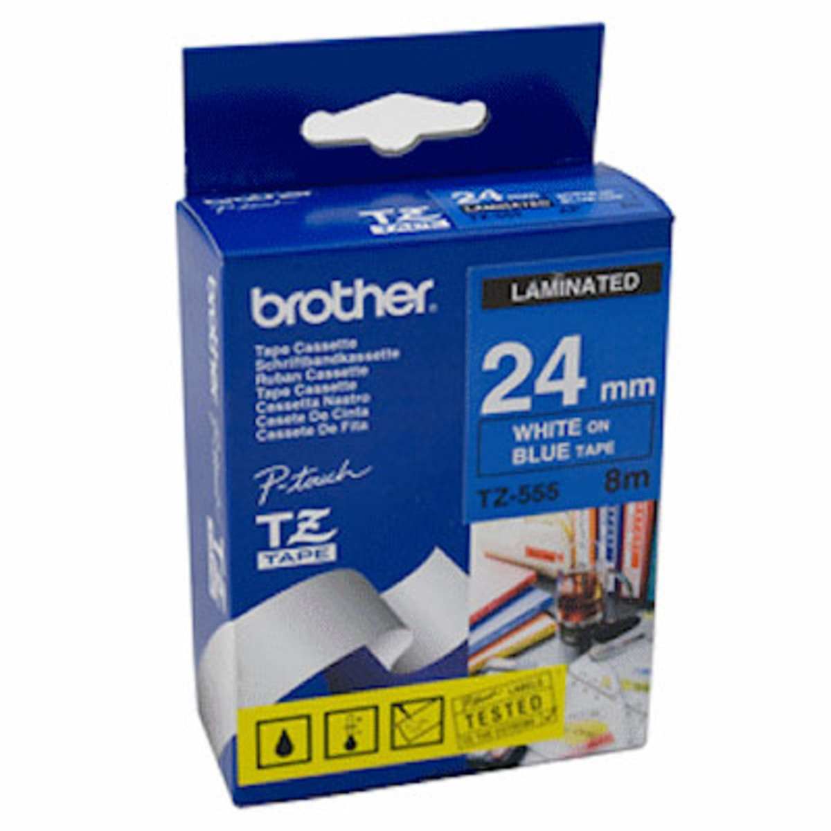 Brother TZ-555 24mm White on Blue Tape