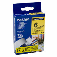 Brother TZ-611 6mm Black on Yellow Tape