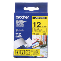 Brother TZ-631 12mm Black on Yellow Tape