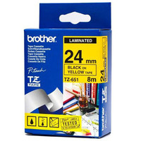 Brother TZ-651 24mm Black on Yellow Tape