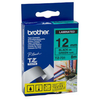 Brother TZ-731 12mm Black on Green Tape