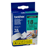 Brother TZ-741 18mm Black on Green Tape