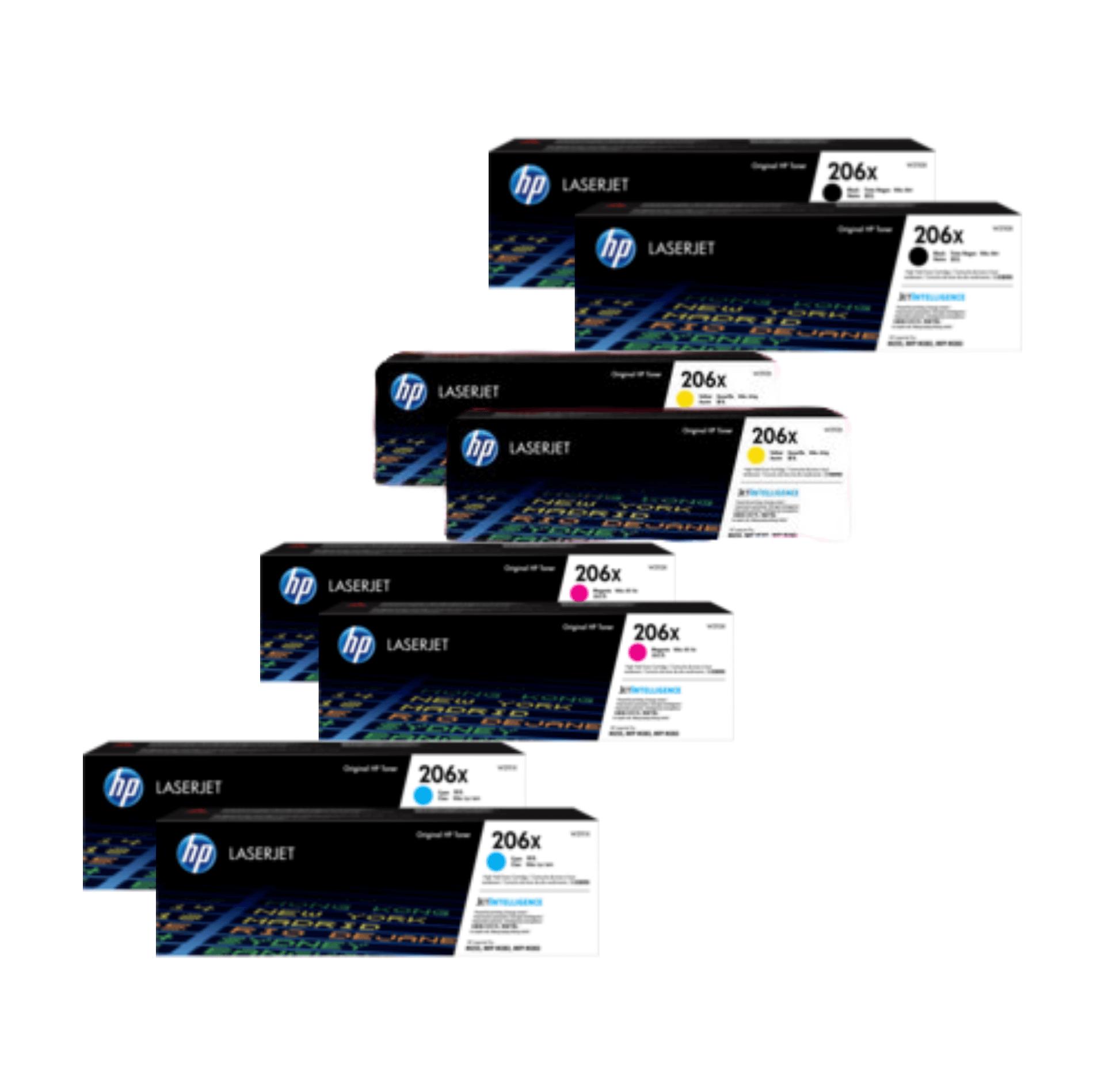 HP 206X Toner Cartridges Value Pack - Includes: [2 x Black, Cyan, Magenta, Yellow]
